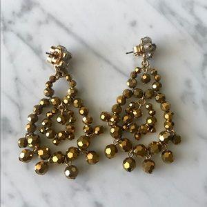 J.Crew Bronze Beaded Chandelier Earrings